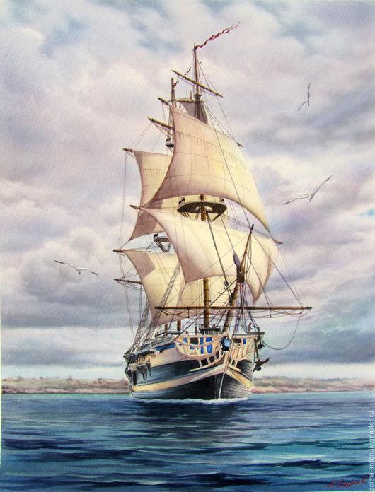 """Пейзаж ручной работы. Ярмарка Мастеров - ручная работа. Купить Акварель """"Бриг"""". Handmade. Голубой, парусник, корабль, морская тематика"""