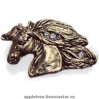 """Броши ручной работы. Ярмарка Мастеров - ручная работа. Купить Брошь """"Алмазная Грива"""". Handmade. Брошь, латунь, лошадь, латунь"""