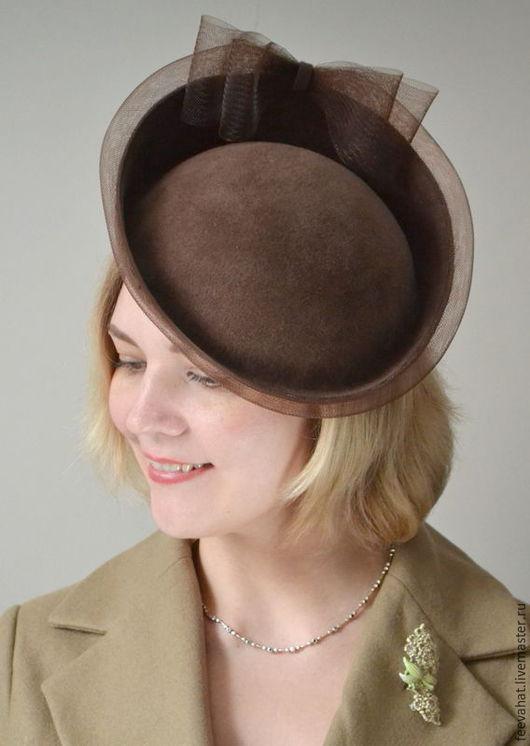 Шляпы ручной работы. Ярмарка Мастеров - ручная работа. Купить Шляпка диск велюр кофейный цвет. Handmade. Коричневый, кофнйный