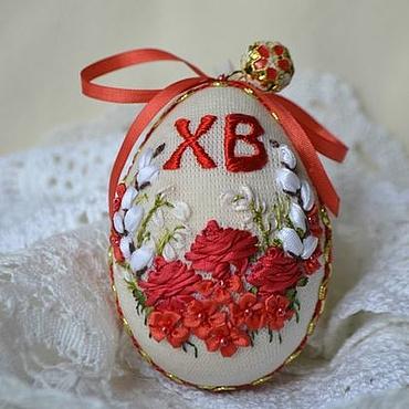 Подарки к праздникам ручной работы. Ярмарка Мастеров - ручная работа Пасхальное яйцо с вышивкой Пасха Красная. Handmade.