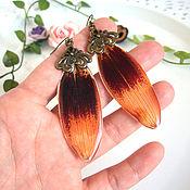 Украшения handmade. Livemaster - original item Long Earrings with Real Orange Lily Petals Jewelry. Handmade.