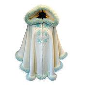 Одежда handmade. Livemaster - original item OVERSIZE poncho with large zip-off hood with fur-mint color. Handmade.