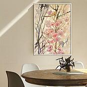 Картины и панно handmade. Livemaster - original item Interior painting 60h40 cm Spring (flowers, pink, beige). Handmade.
