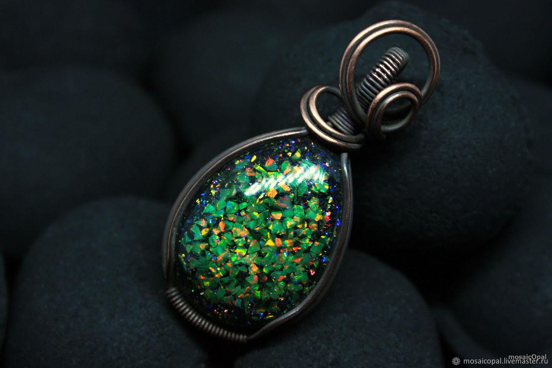 Copper pendant with green opals. Drop. Laboratory opals in resin, Pendants, Kamensk-Uralsky,  Фото №1