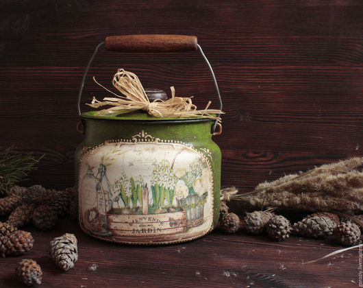 """Кухня ручной работы. Ярмарка Мастеров - ручная работа. Купить Бидон маленький """" Для  Золушки"""". Handmade. Зеленый"""