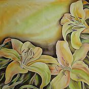 Аксессуары ручной работы. Ярмарка Мастеров - ручная работа платок Желтые лилии. Handmade.