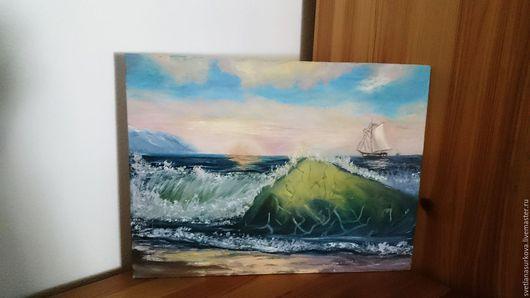 Пейзаж ручной работы. Ярмарка Мастеров - ручная работа. Купить морской берег. Handmade. Море, берег, парус, восход