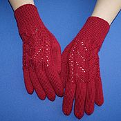 Аксессуары handmade. Livemaster - original item Cherry, fishnet gloves. Warm knitted gloves.. Handmade.