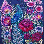 """Картины и панно ручной работы. Ярмарка Мастеров - ручная работа Вышивка лентами """"Синяя птица"""". Handmade."""