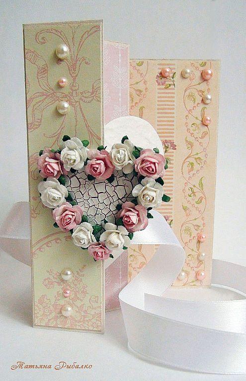"""Открытки для женщин, ручной работы. Ярмарка Мастеров - ручная работа. Купить Открытка для любимой """"Цветочное сердце"""". Handmade. открытка для девушки"""
