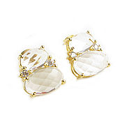 Украшения handmade. Livemaster - original item Transparent earrings with rock crystal and cubic zirconia, a gift to a friend. Handmade.