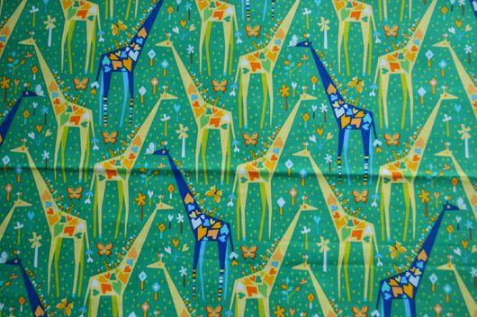 """Шитье ручной работы. Ярмарка Мастеров - ручная работа. Купить Ткань хлопок американский Распродажа """" жирафики"""". Handmade. Комбинированный"""