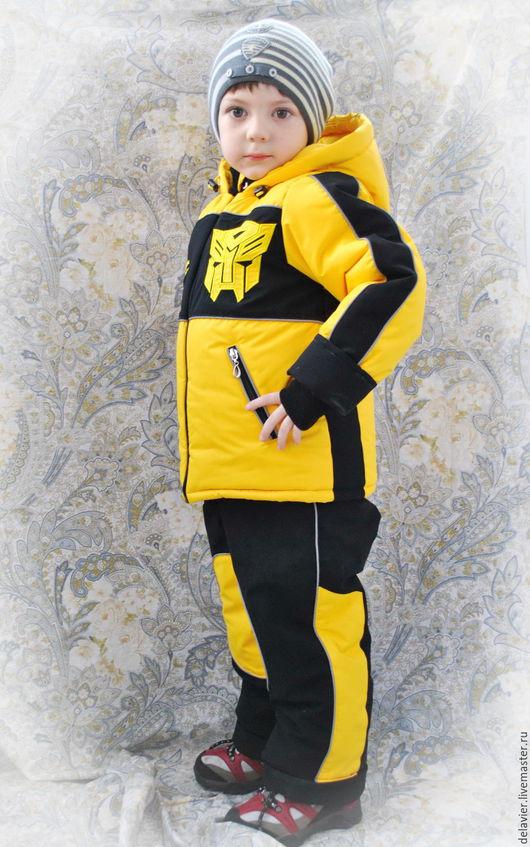 """Одежда для мальчиков, ручной работы. Ярмарка Мастеров - ручная работа. Купить Зимний/демисезонный  мембранный комплект """"Трансформеры"""" от Делавьи. Handmade. Желтый"""