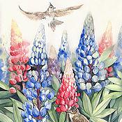 Картина акварелью с цветами Лето в люпинах