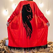 Одежда ручной работы. Ярмарка Мастеров - ручная работа Кардиган ПАНТЕРА с принтом пантеры и перья страуса. Handmade.