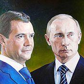 Картины и панно ручной работы. Ярмарка Мастеров - ручная работа Медведев и Путин. Handmade.