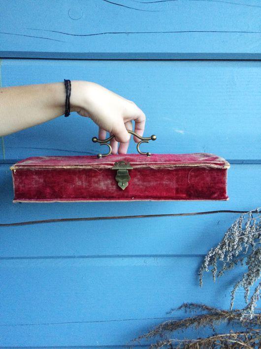 Винтажные сумки и кошельки. Ярмарка Мастеров - ручная работа. Купить Старинная перчаточница, шкатулка для рукоделия. Handmade. Фуксия, бархат