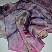 Аксессуары ручной работы. Ярмарка Мастеров - ручная работа Фиолетовый платок Сиреневый,шелк,шелк100%,Шелк. Handmade.