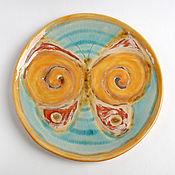 Посуда ручной работы. Ярмарка Мастеров - ручная работа Тарелка «Тут бабочка прилетала...». Handmade.