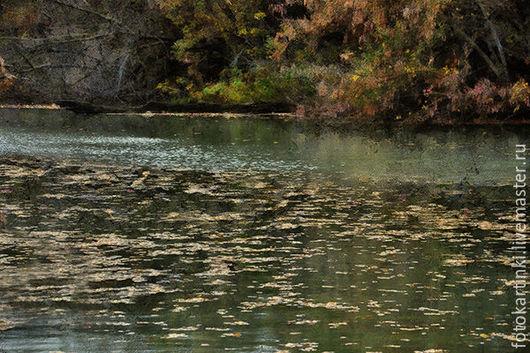 Фотокартины ручной работы. Ярмарка Мастеров - ручная работа. Купить начало осени. Handmade. Оливковый, вода, река, осень, фотокартина