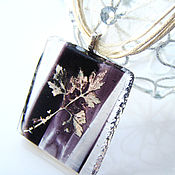 Украшения handmade. Livemaster - original item Pendant glass Crystal leaf. Fusing Glass jewelry. Handmade.