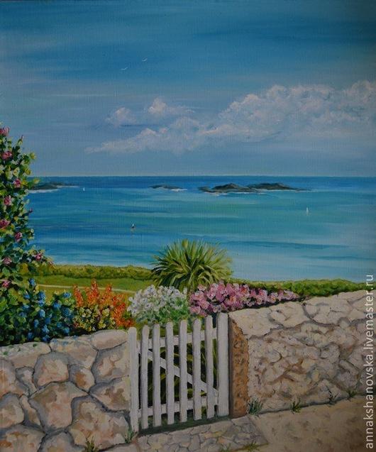 """Пейзаж ручной работы. Ярмарка Мастеров - ручная работа. Купить Картина """"Тропинка к морю"""". Handmade. Голубой, картина, море, пейзаж"""