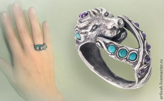 """Кольца ручной работы. Ярмарка Мастеров - ручная работа. Купить серебряное кольцо с бирюзой и аметистами """"Скифский лев"""". Handmade."""