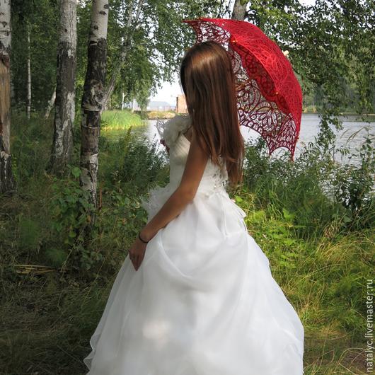 Свадебные аксессуары ручной работы. Ярмарка Мастеров - ручная работа. Купить Зонт свадебный с веером. Handmade. Белый, зонт свадебный