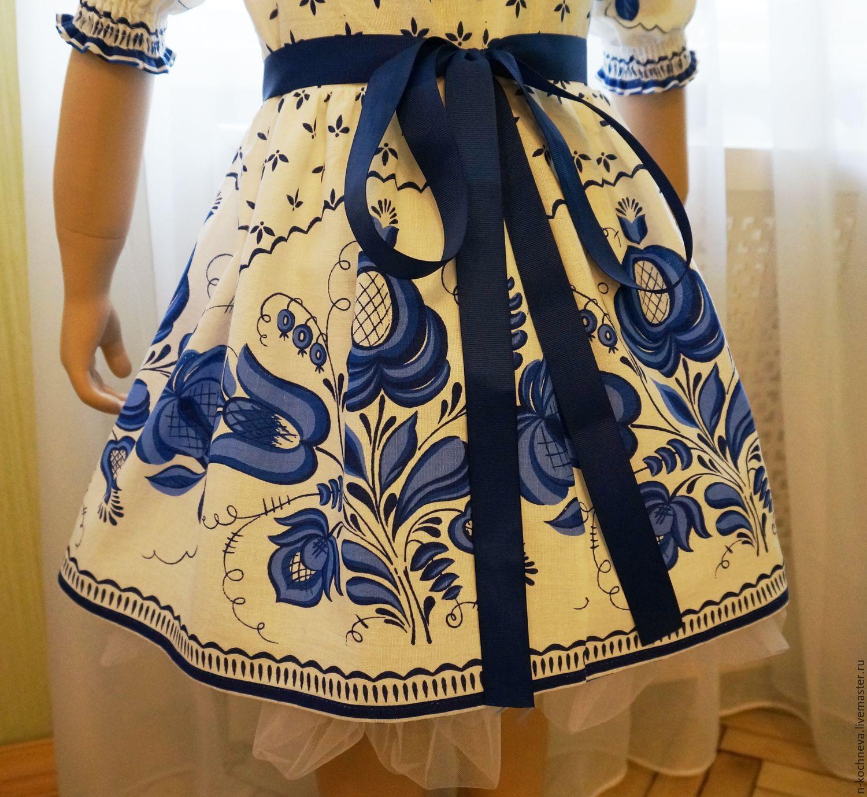 7c4d9468a6a Детское платье Гжель – купить в интернет-магазине на Ярмарке ...