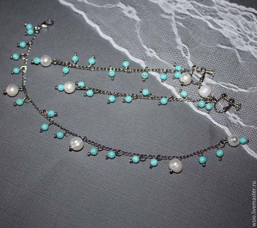 Комплект украшений `Голубой океан с корабликами` Набор украшений с жемчужинами.Украшения под бирюзу.