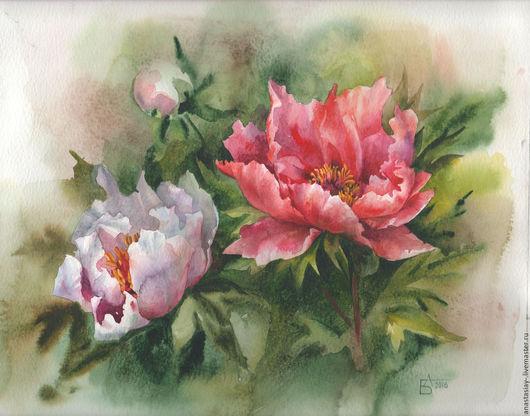 Картины цветов ручной работы. Ярмарка Мастеров - ручная работа. Купить Пионы утром. Handmade. Ярко-красный, пионы, цветы