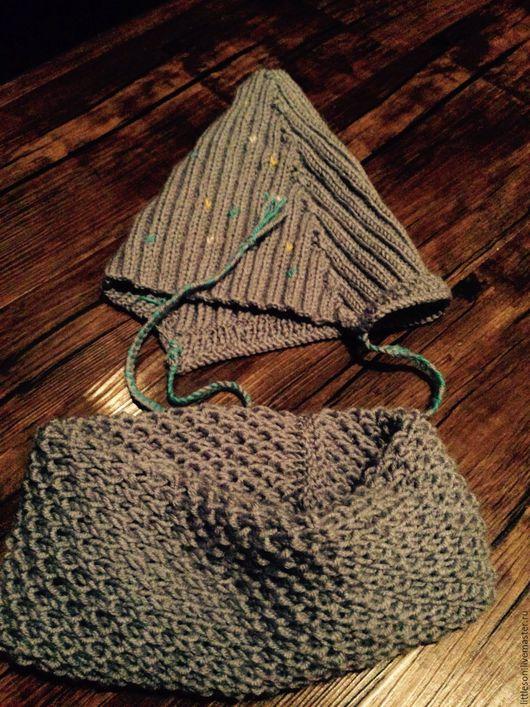 Шапки и шарфы ручной работы. Ярмарка Мастеров - ручная работа. Купить Детский комплект: шапочка и снуд спицами на весну-осень. Handmade.