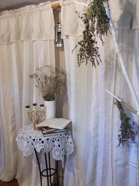 """Текстиль, ковры ручной работы. Ярмарка Мастеров - ручная работа. Купить Шторы льняные""""Дом с мезонином""""(бохо,винтаж,Прованс). Handmade. Белый"""