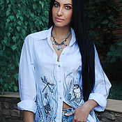 Одежда handmade. Livemaster - original item White embroidered blouse