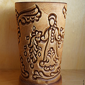 Канцелярские товары handmade. Livemaster - original item Pencil holder wood carved Spring and Summer. Handmade.
