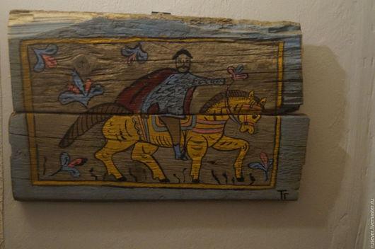 """Этно ручной работы. Ярмарка Мастеров - ручная работа. Купить Картина на старых досках """"Всадник"""". Handmade. Комбинированный, старые доски"""