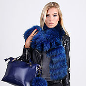 Аксессуары handmade. Livemaster - original item Raccoon fur scarf in blue. Handmade.