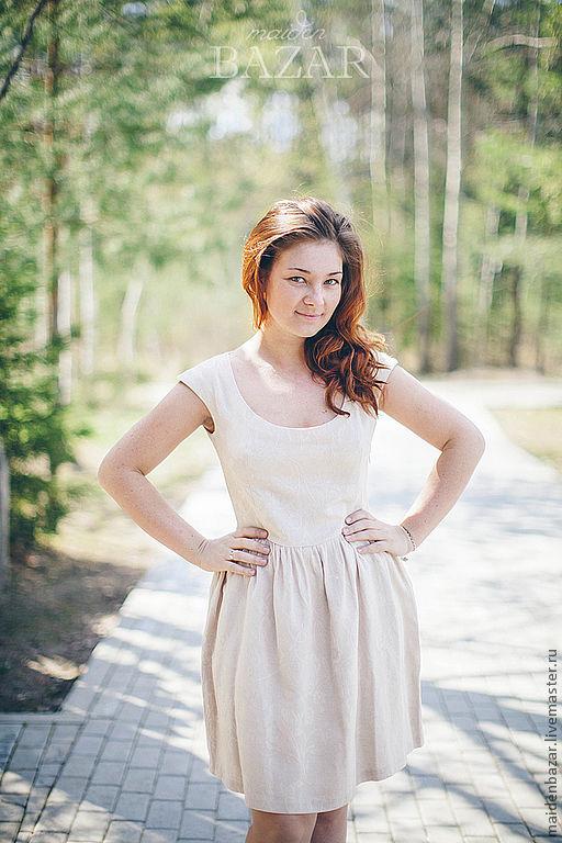 Платья ручной работы. Ярмарка Мастеров - ручная работа. Купить Льняное платье. Handmade. Кремовый, короткое платье, простое платье