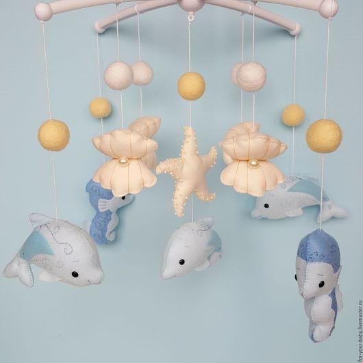"""Детская ручной работы. Ярмарка Мастеров - ручная работа. Купить Мобиль в кроватку """"Морские сны"""". Handmade. Голубой, мобиль, Декор"""