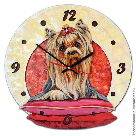 """Часы для дома ручной работы. Ярмарка Мастеров - ручная работа. Купить Часы """"Йорк"""". Handmade. Йоркширский терьер, часы настенные"""