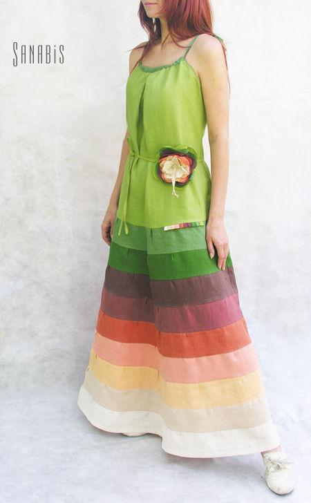 """Платья ручной работы. Ярмарка Мастеров - ручная работа. Купить Льняной сарафан """"Цвет папоротника"""". Handmade. Платье, зеленый"""