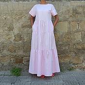 Одежда ручной работы. Ярмарка Мастеров - ручная работа Бледно-розовое длинное летнее макси бохо платье из хлопка. Handmade.