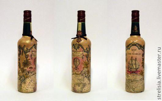 Подарочное оформление бутылок ручной работы. Ярмарка Мастеров - ручная работа. Купить Декор бутылок. 2 вида. Handmade. футбол