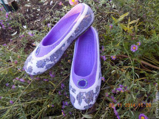 """Обувь ручной работы. Ярмарка Мастеров - ручная работа. Купить тапочки  """"Морозные цветы"""". Handmade. Разноцветный, ручная авторская работа"""