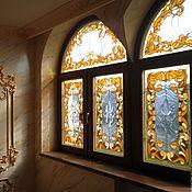 """Для дома и интерьера ручной работы. Ярмарка Мастеров - ручная работа Витраж тиффани в окна """"Барокко"""". Handmade."""