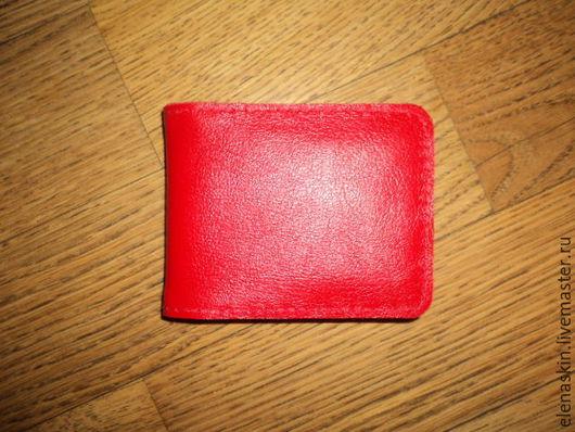 Кошельки и визитницы ручной работы. Ярмарка Мастеров - ручная работа. Купить Картхолдер кожаный красный. Handmade. Ярко-красный