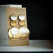 Серьги классические ручной работы. Ярмарка Мастеров - ручная работа Крупные серьги с дисками. Handmade.