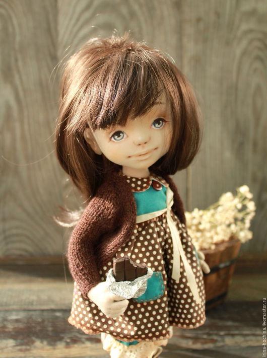 Коллекционные куклы ручной работы. Ярмарка Мастеров - ручная работа. Купить Вкусненько.... Handmade. Тёмно-бирюзовый, кукла текстильная, хлопок