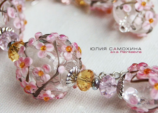 Jewelry Sets handmade. Livemaster - handmade. Buy Set 'Sakura' lampwork.Author's lampwork, flowers, flowers of glass