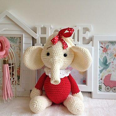 Куклы и игрушки ручной работы. Ярмарка Мастеров - ручная работа Мягкие игрушки: слоник с красным бантом. Handmade.